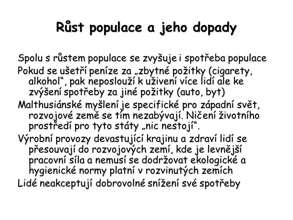 Růst populace a jeho dopady