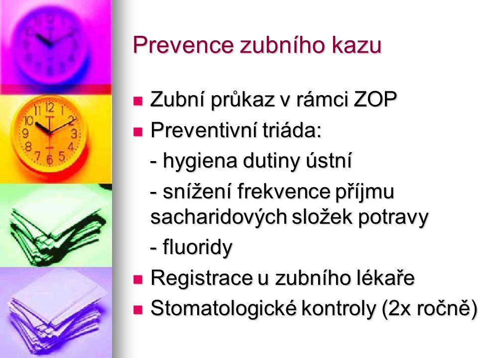 Prevence zubního kazu Zubní průkaz v rámci ZOP Preventivní triáda: