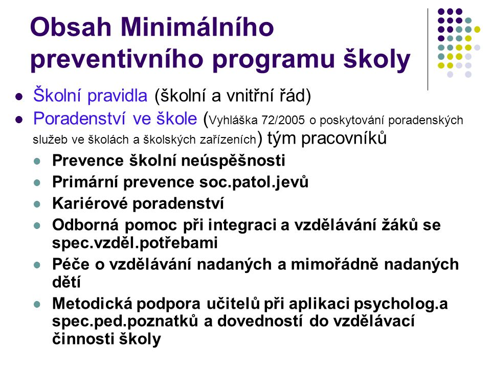 Obsah Minimálního preventivního programu školy