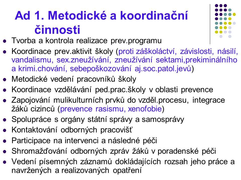 Ad 1. Metodické a koordinační činnosti
