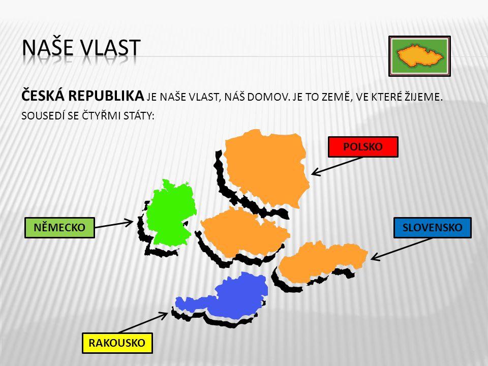 Naše vlast ČESKÁ REPUBLIKA JE NAŠE VLAST, NÁŠ DOMOV. JE TO ZEMĚ, VE KTERÉ ŽIJEME. SOUSEDÍ SE ČTYŘMI STÁTY:
