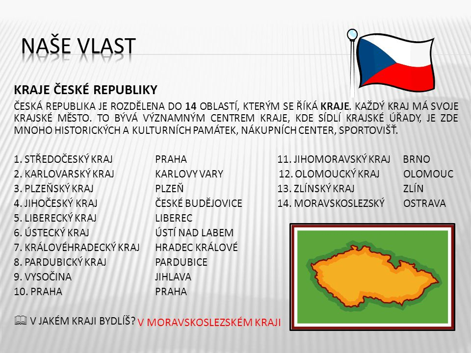 Naše vlast KRAJE ČESKÉ REPUBLIKY V MORAVSKOSLEZSKÉM KRAJI