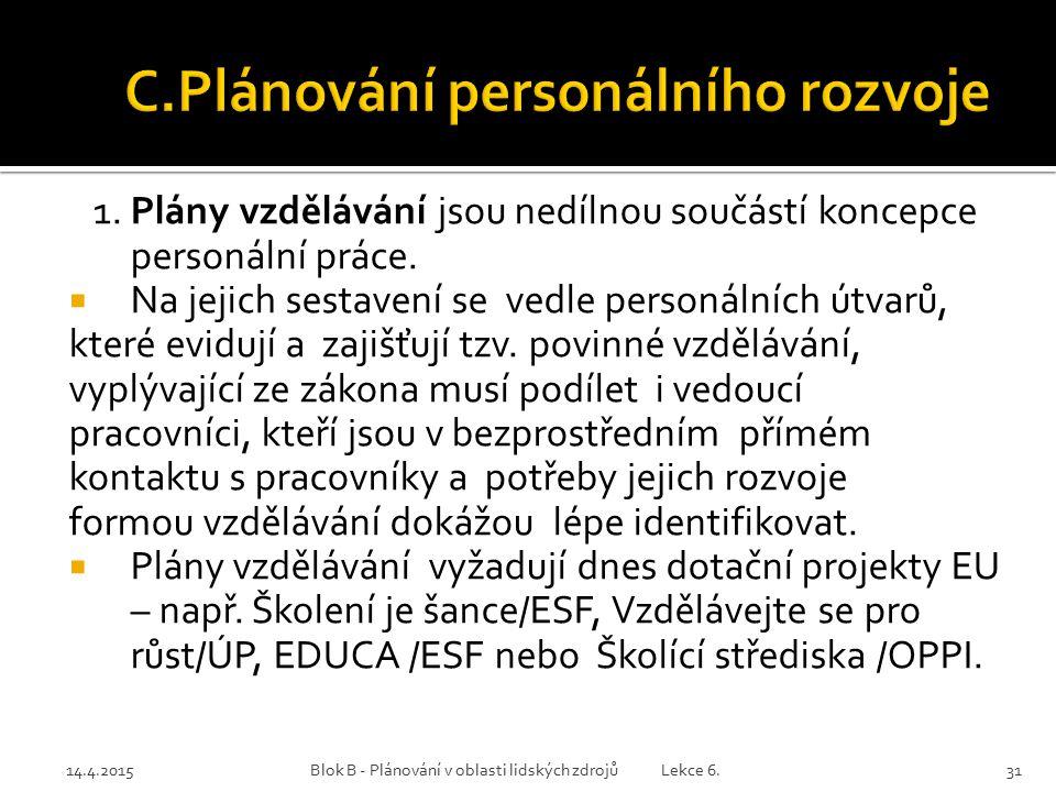 C.Plánování personálního rozvoje