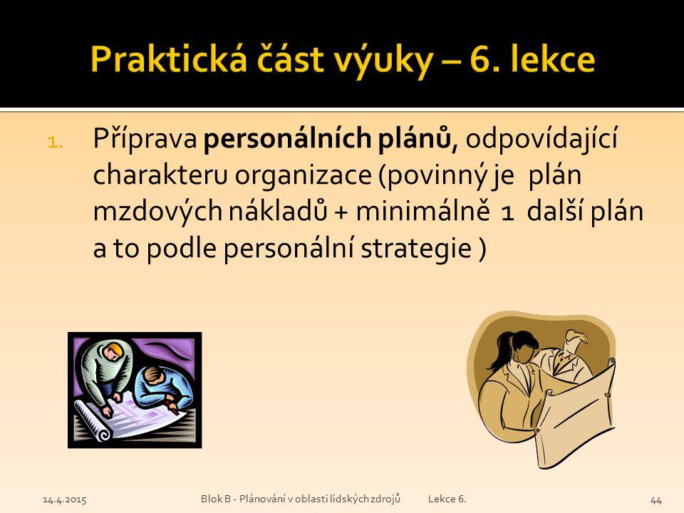 Praktická část výuky – 6. lekce