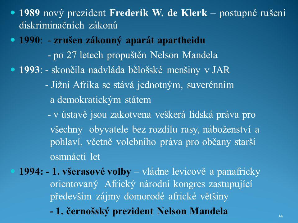 1989 nový prezident Frederik W