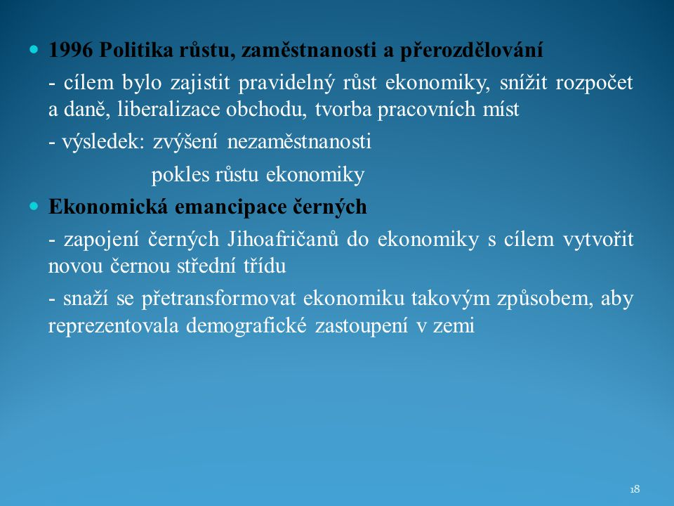 1996 Politika růstu, zaměstnanosti a přerozdělování