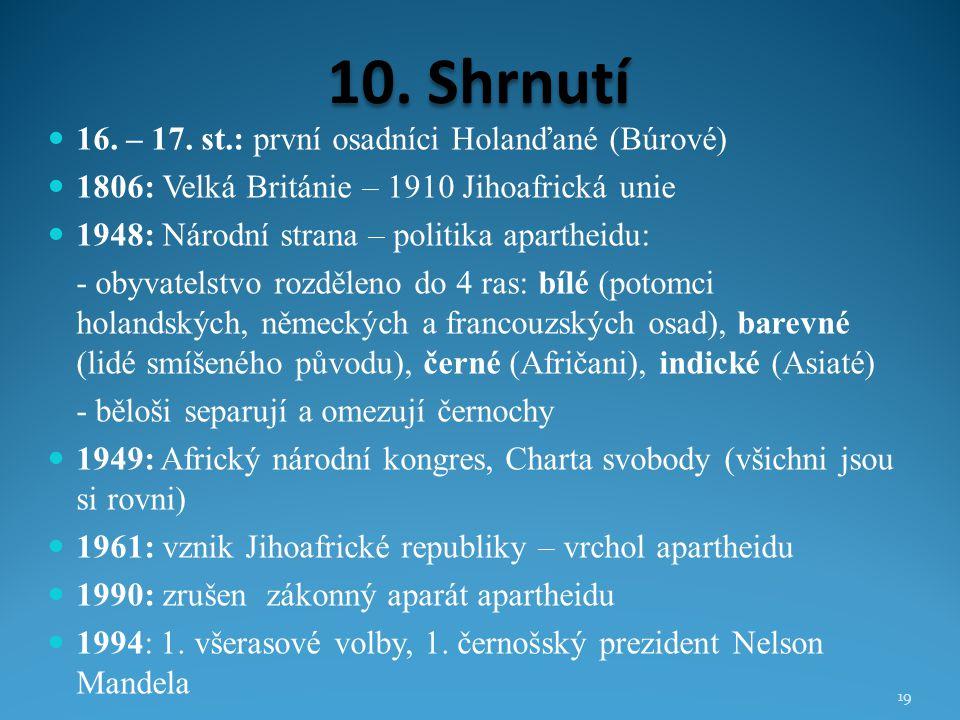 10. Shrnutí 16. – 17. st.: první osadníci Holanďané (Búrové)