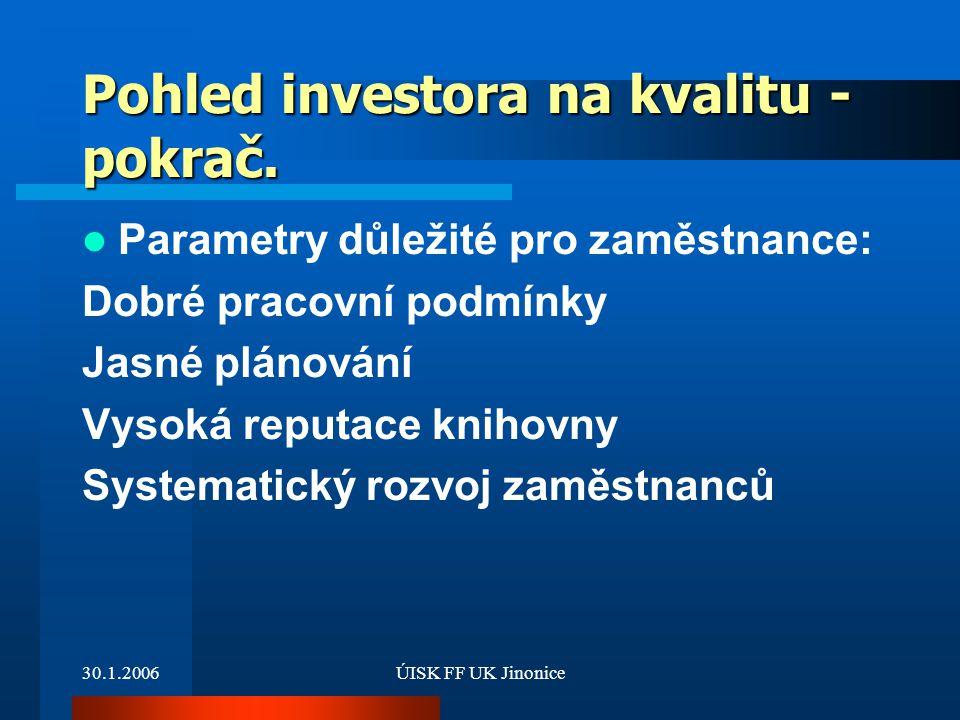 Pohled investora na kvalitu - pokrač.