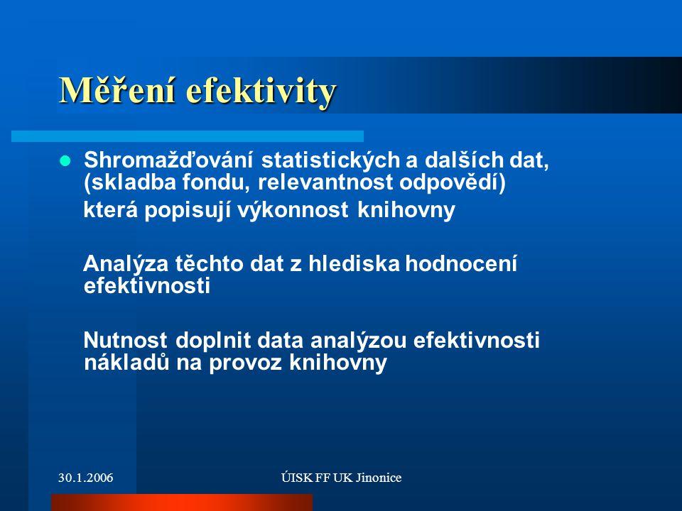 Měření efektivity Shromažďování statistických a dalších dat, (skladba fondu, relevantnost odpovědí)