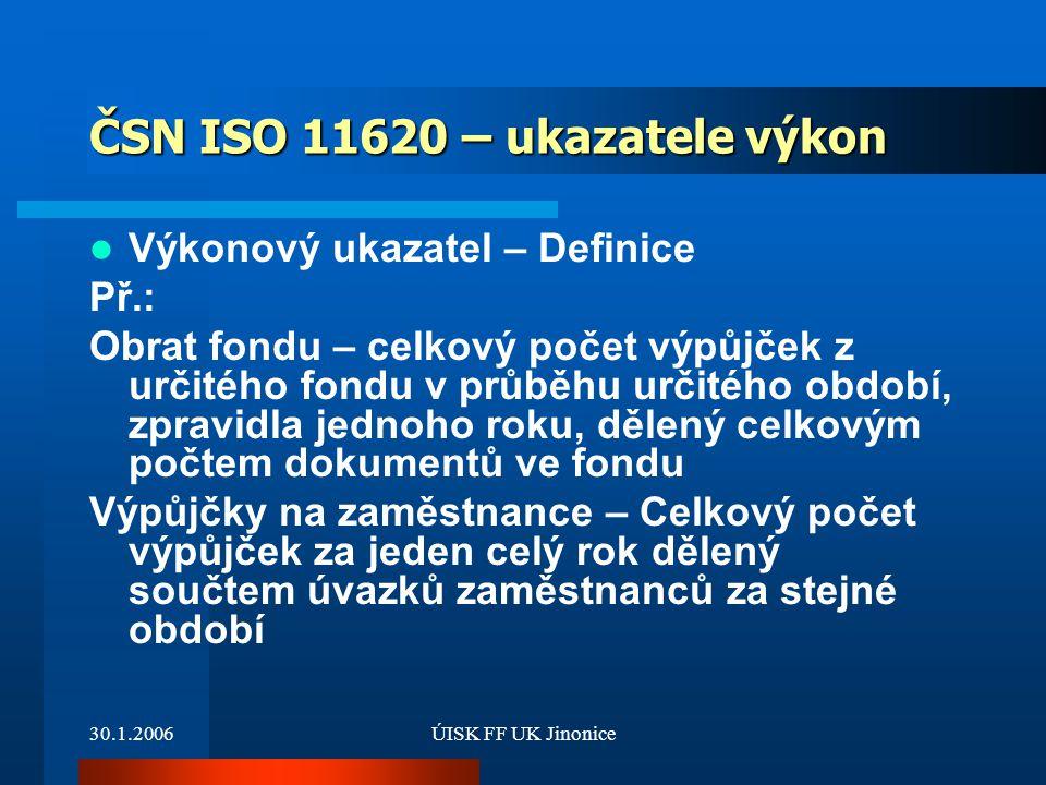 ČSN ISO 11620 – ukazatele výkon