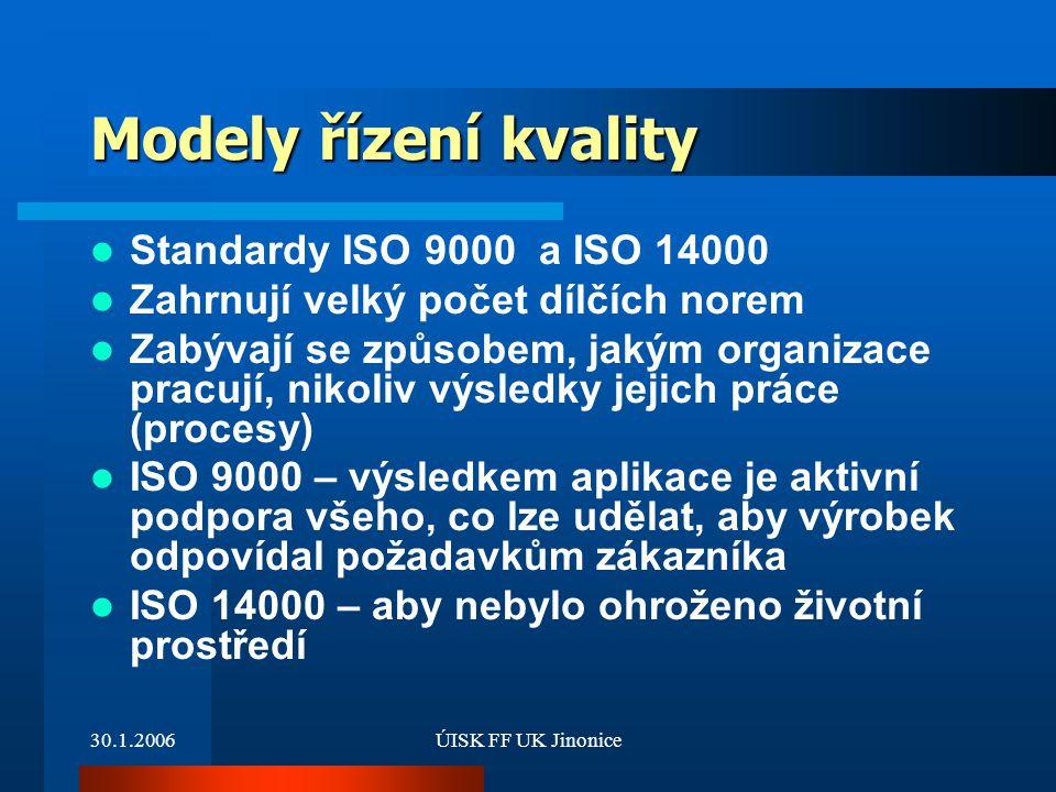Modely řízení kvality Standardy ISO 9000 a ISO 14000