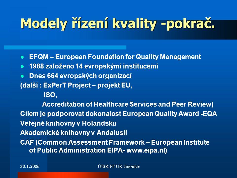 Modely řízení kvality -pokrač.