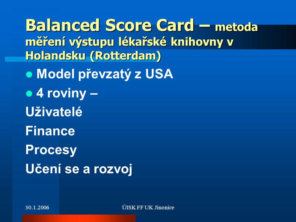 Balanced Score Card – metoda měření výstupu lékařské knihovny v Holandsku (Rotterdam)