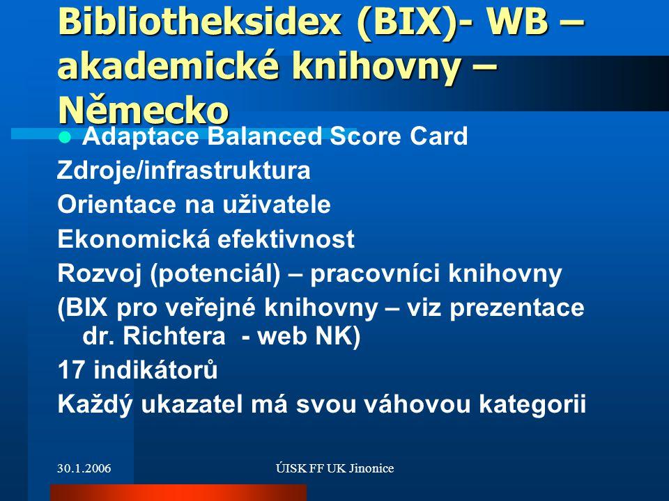 Bibliotheksidex (BIX)- WB – akademické knihovny – Německo