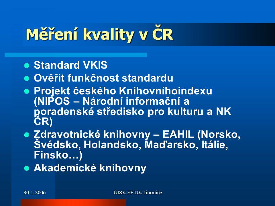 Měření kvality v ČR Standard VKIS Ověřit funkčnost standardu
