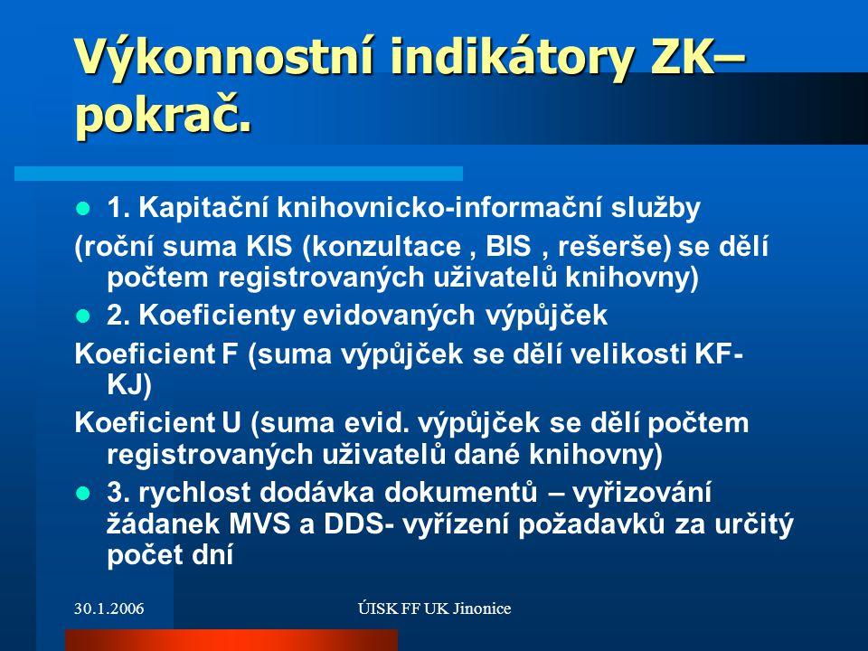 Výkonnostní indikátory ZK– pokrač.
