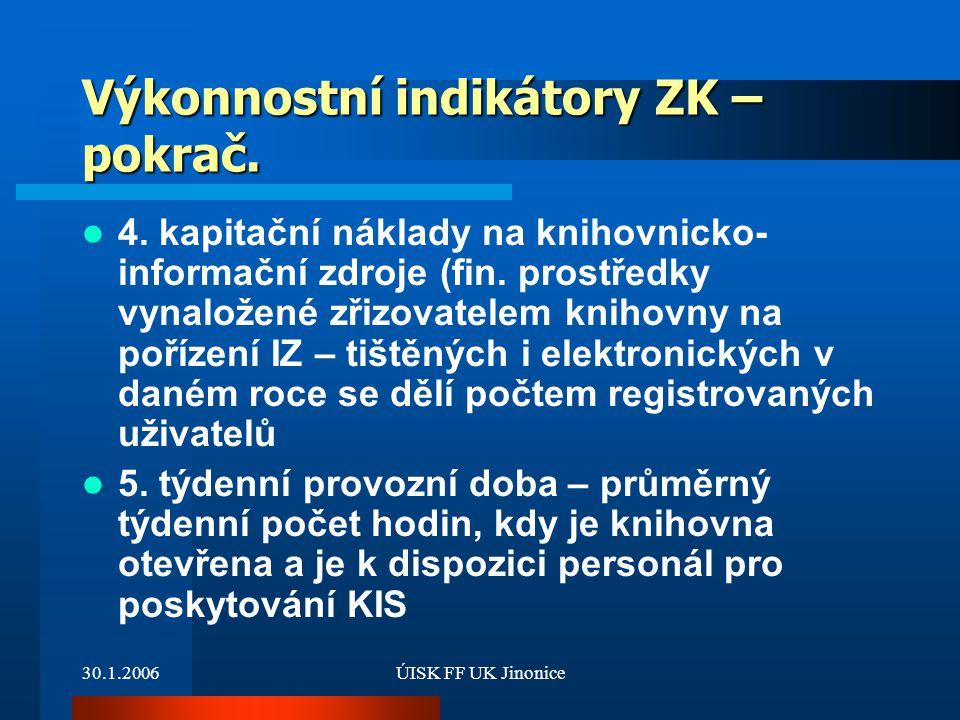 Výkonnostní indikátory ZK – pokrač.