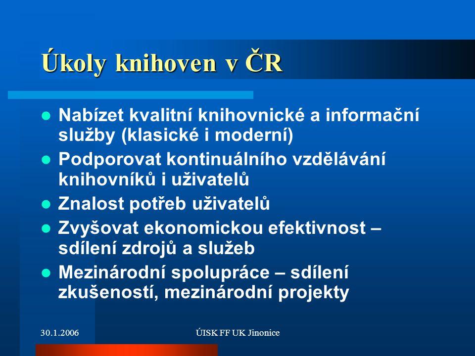 Úkoly knihoven v ČR Nabízet kvalitní knihovnické a informační služby (klasické i moderní) Podporovat kontinuálního vzdělávání knihovníků i uživatelů.