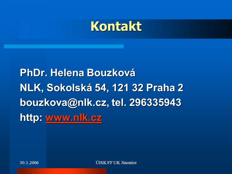 Kontakt PhDr. Helena Bouzková NLK, Sokolská 54, 121 32 Praha 2