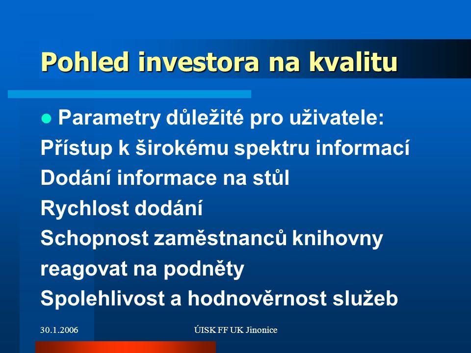Pohled investora na kvalitu