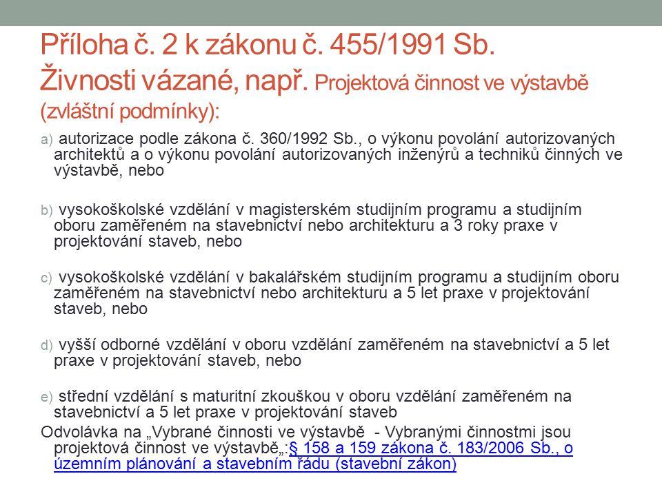 Příloha č. 2 k zákonu č. 455/1991 Sb. Živnosti vázané, např