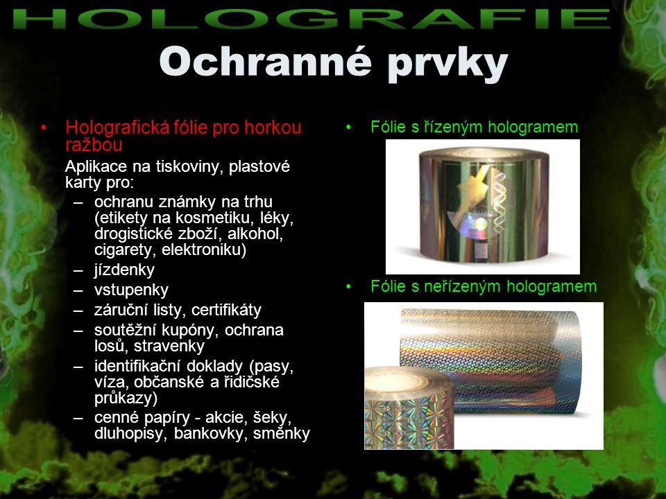 Ochranné prvky HOLOGRAFIE Holografická fólie pro horkou ražbou