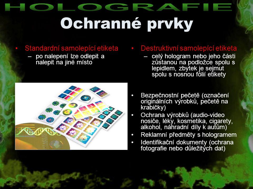 Ochranné prvky HOLOGRAFIE Standardní samolepící etiketa