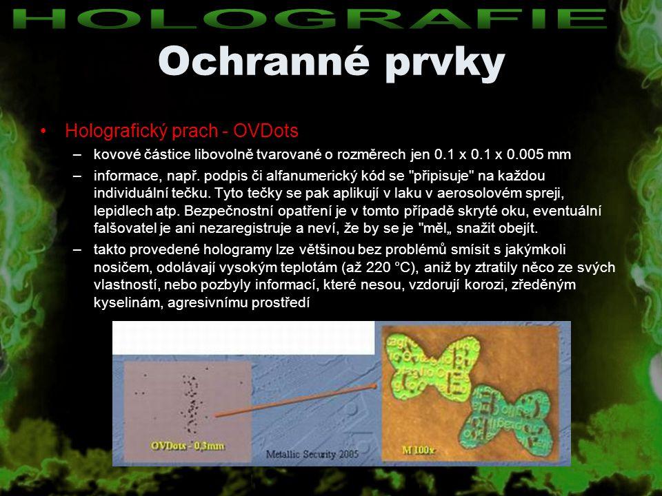 Ochranné prvky HOLOGRAFIE Holografický prach - OVDots