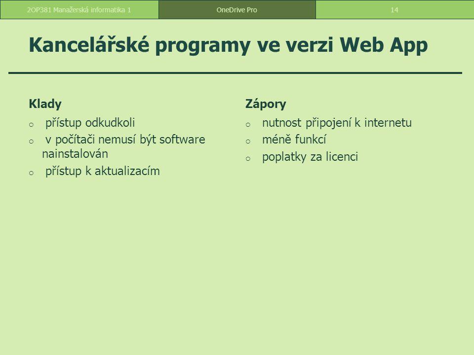 Kancelářské programy ve verzi Web App