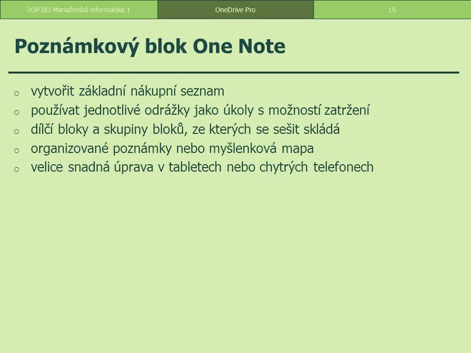 Poznámkový blok One Note