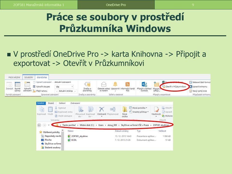 Práce se soubory v prostředí Průzkumníka Windows