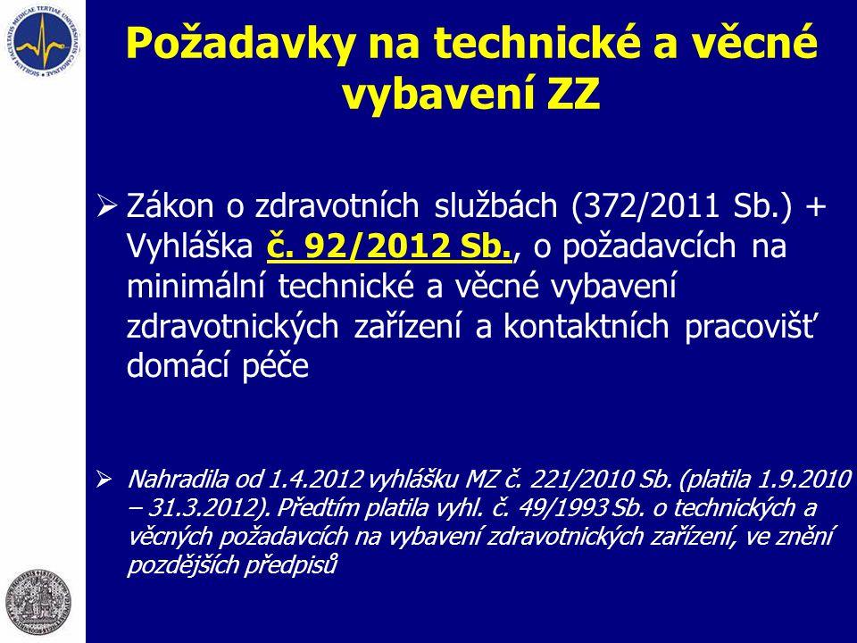 Požadavky na technické a věcné vybavení ZZ