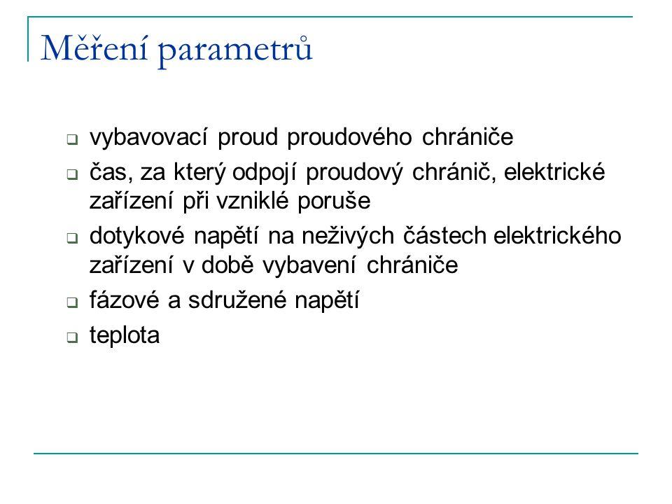 Měření parametrů vybavovací proud proudového chrániče