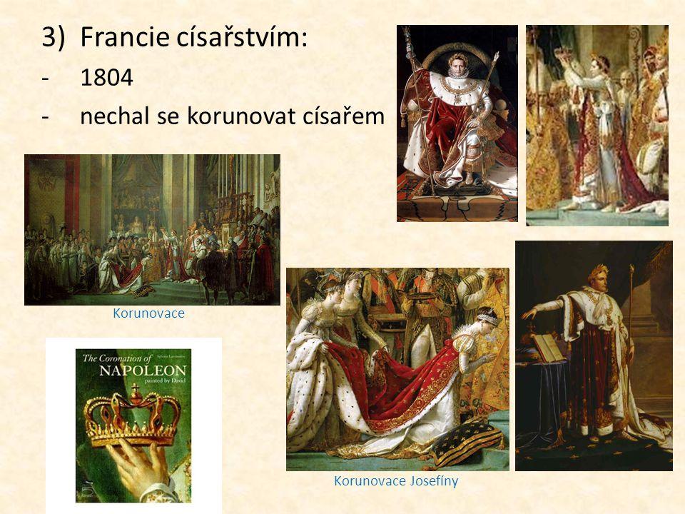 Francie císařstvím: 1804 nechal se korunovat císařem Korunovace