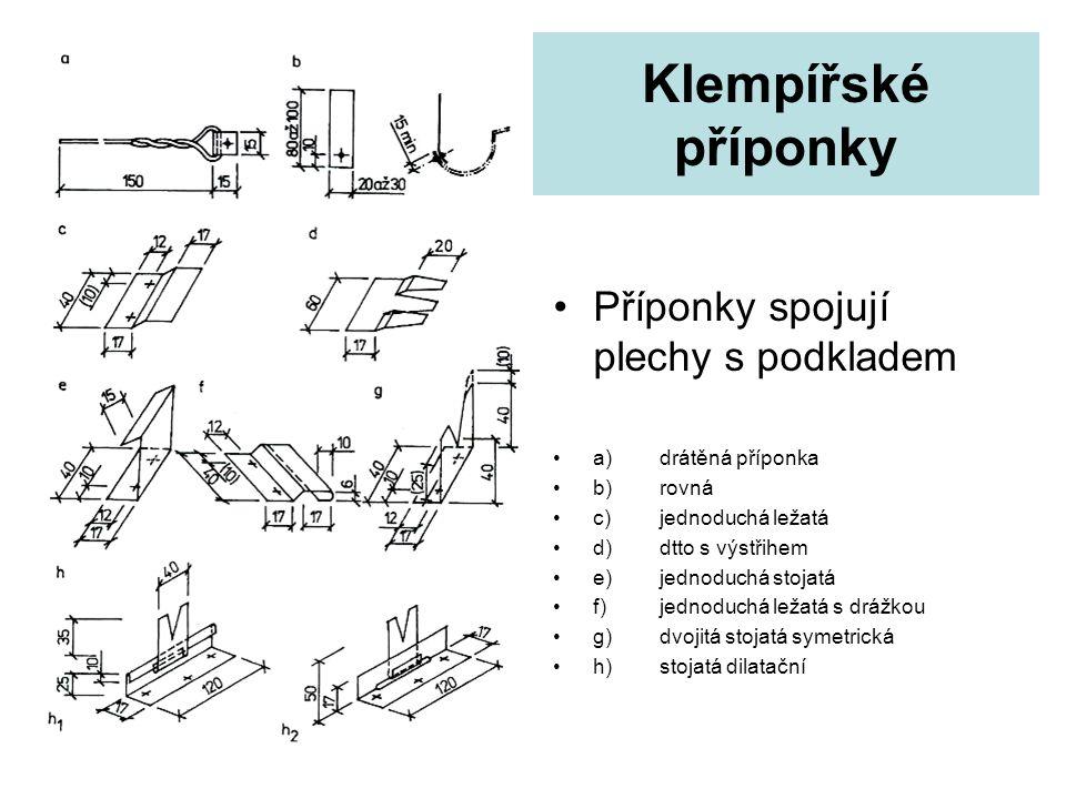 Klempířské příponky Příponky spojují plechy s podkladem