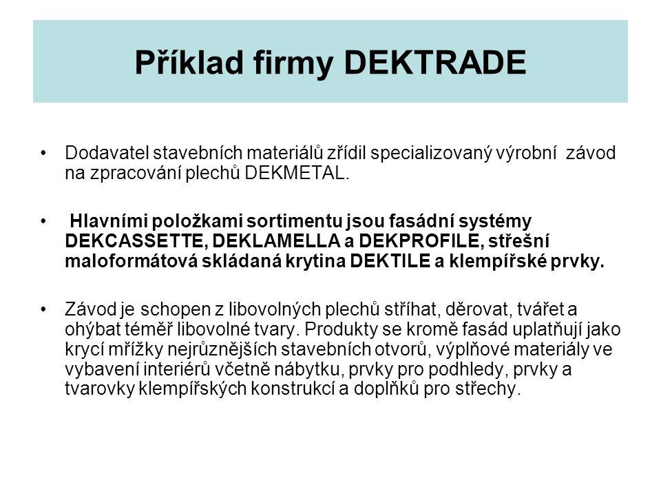Příklad firmy DEKTRADE