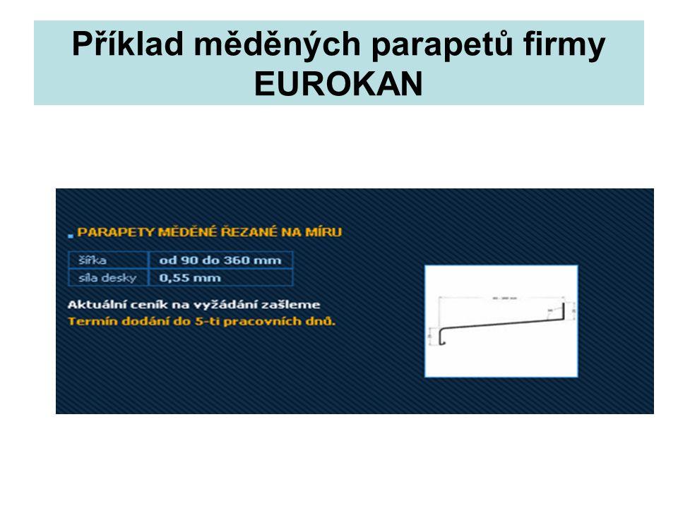 Příklad měděných parapetů firmy EUROKAN