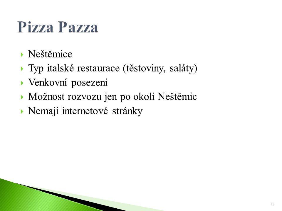 Pizza Pazza Neštěmice Typ italské restaurace (těstoviny, saláty)
