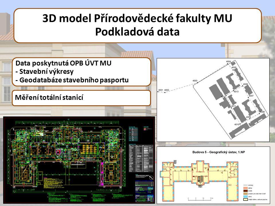 3D model Přírodovědecké fakulty MU Podkladová data