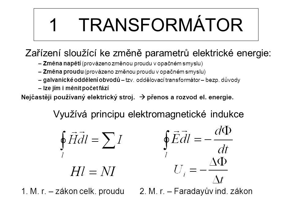 1 TRANSFORMÁTOR Zařízení sloužící ke změně parametrů elektrické energie: Změna napětí (provázeno změnou proudu v opačném smyslu)