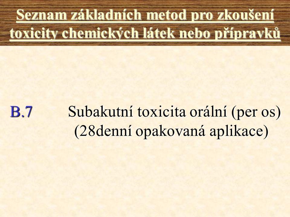 B.7 Subakutní toxicita orální (per os) (28denní opakovaná aplikace)