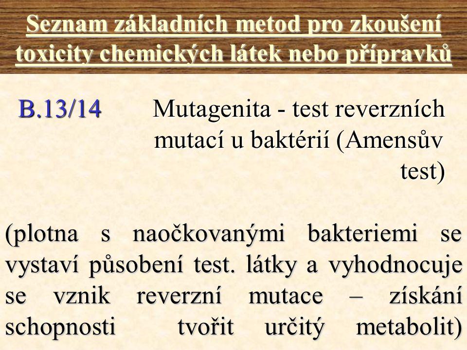 B.13/14 Mutagenita - test reverzních mutací u baktérií (Amensův test)
