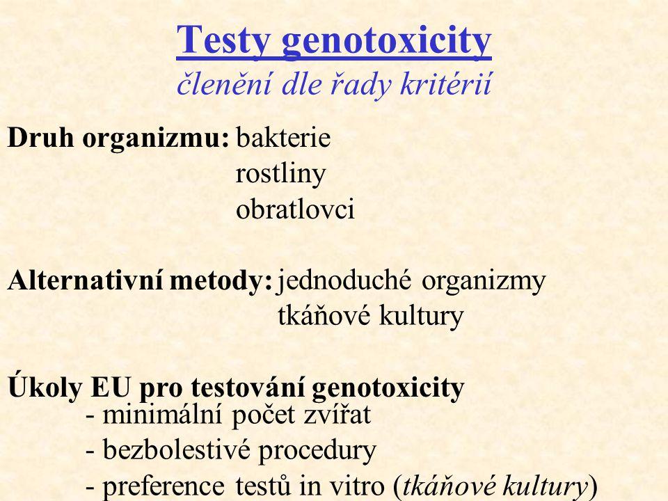 Testy genotoxicity členění dle řady kritérií