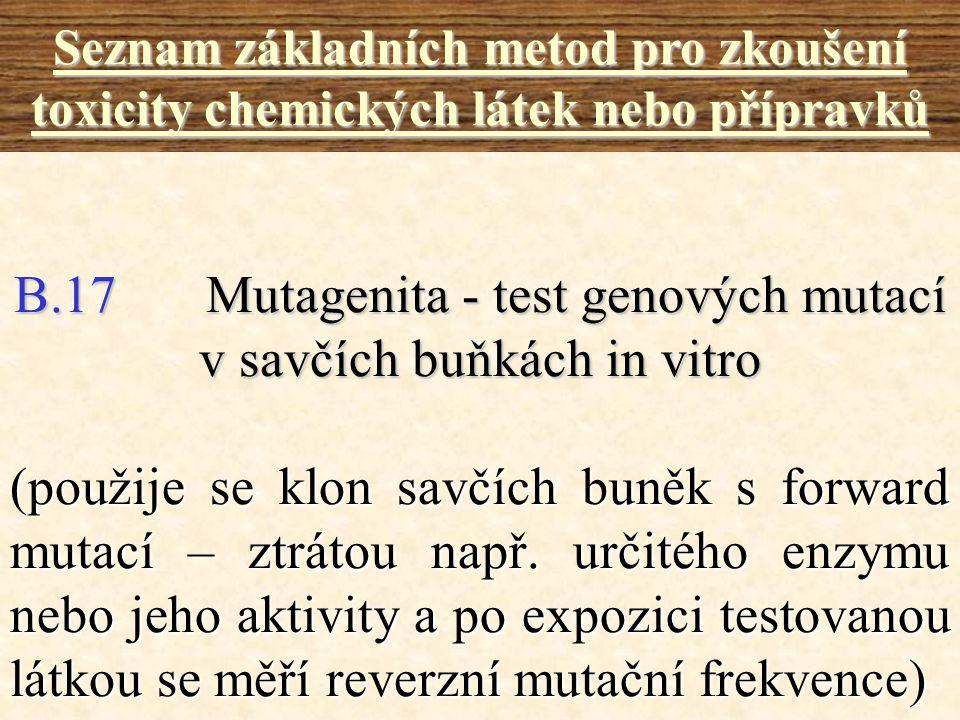 B.17 Mutagenita - test genových mutací v savčích buňkách in vitro