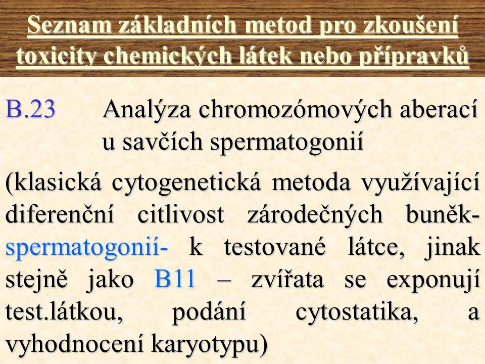B.23 Analýza chromozómových aberací u savčích spermatogonií