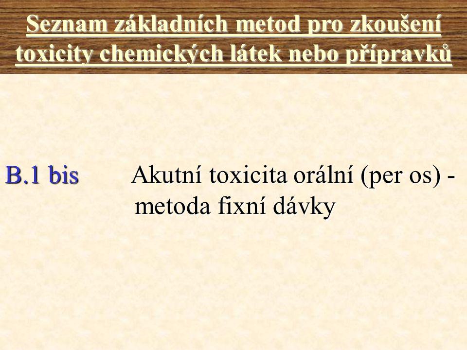 B.1 bis Akutní toxicita orální (per os) - metoda fixní dávky
