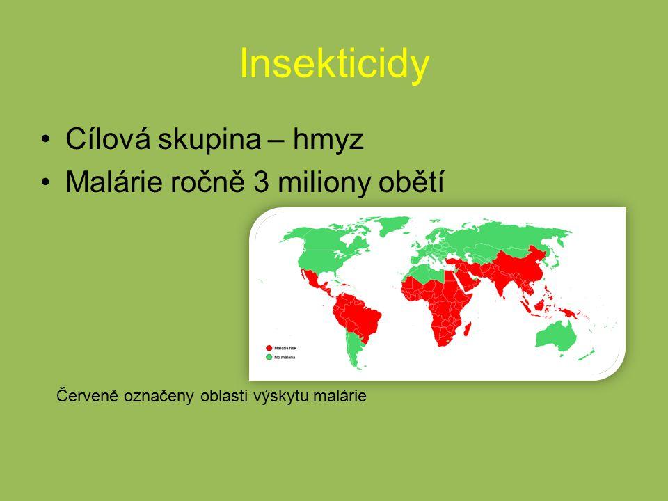 Insekticidy Cílová skupina – hmyz Malárie ročně 3 miliony obětí