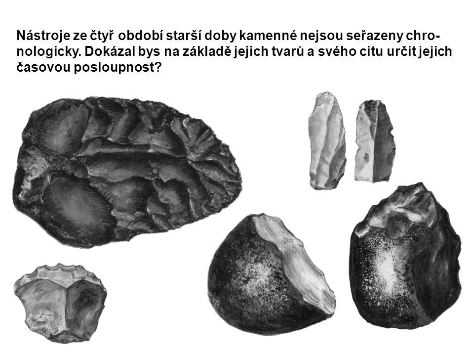 Nástroje ze čtyř období starší doby kamenné nejsou seřazeny chro-nologicky.