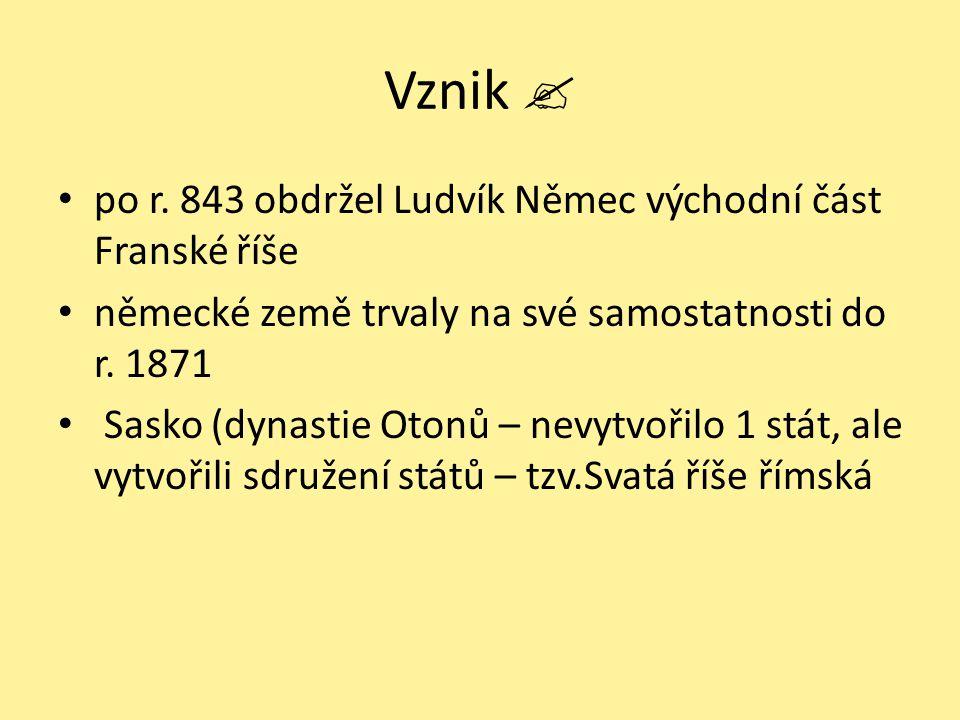Vznik  po r. 843 obdržel Ludvík Němec východní část Franské říše