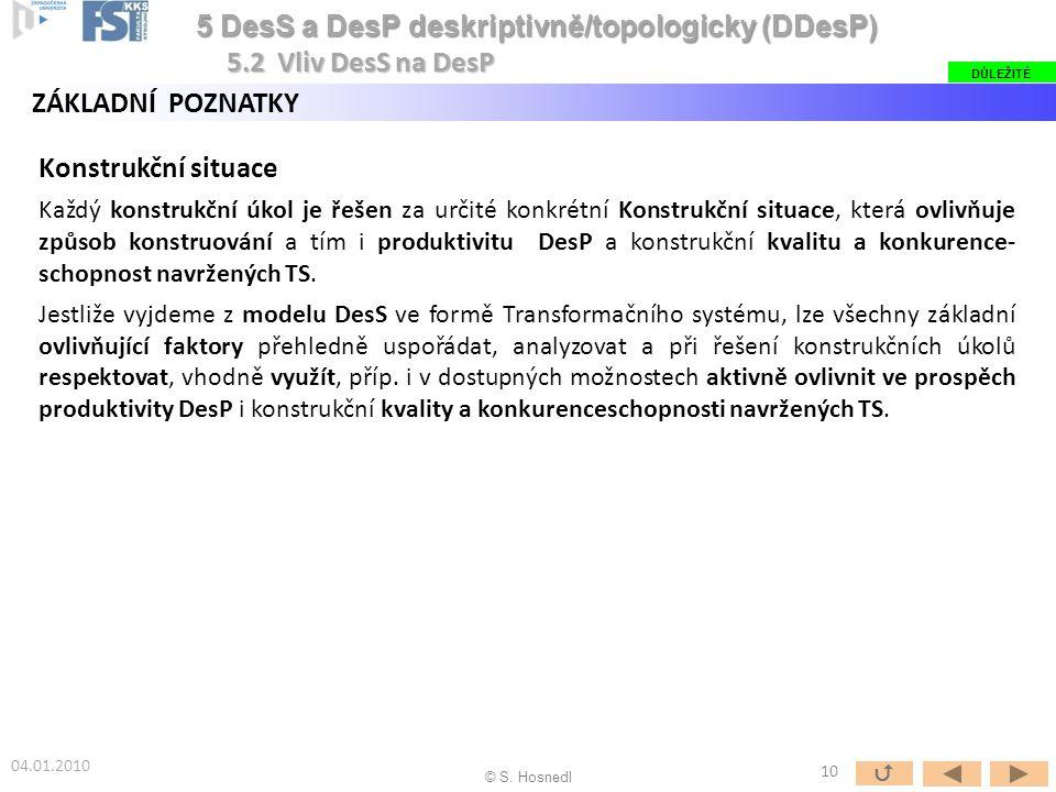 5 DesS a DesP deskriptivně/topologicky (DDesP) 5.2 Vliv DesS na DesP